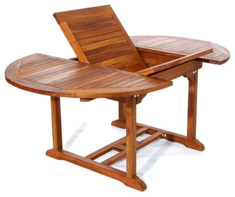 6ft teak patio oval extension table with foldable