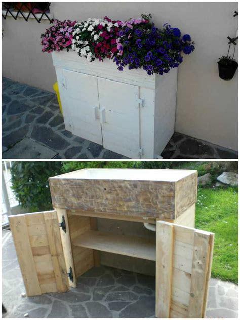 fioriera porta attrezzi pallet planter toolbox