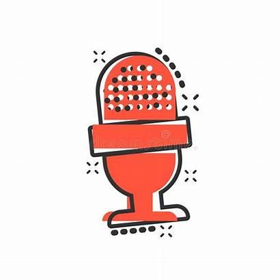 Cartoon Microphone Broadcast Comic Mic Pictogram Speech