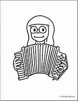 Accordion Playing Coloring Clip Drawing Abcteach Clipart Getdrawings sketch template