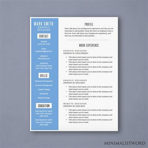 attractive word resume template  blue sidebar design