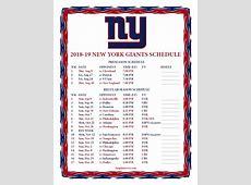 Printable 20182019 New York Giants Schedule