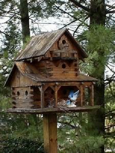 Rustic, Bird, Feeders, Houses, Table