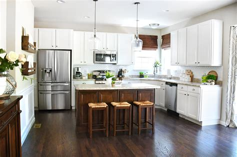 White Cabinets, Dark Kitchen Island For Your Home