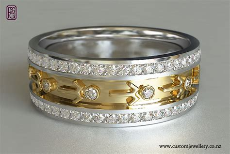 seagul motif pacifica yellow and white gold wedding ring new zealand