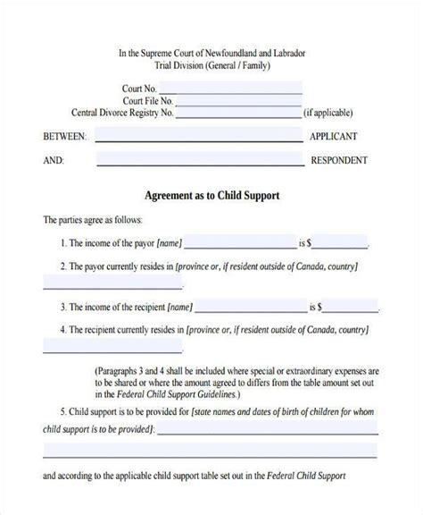 child support agreement form template business