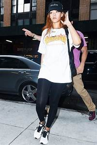 Hungover? 7 Comfortable Outfits to Wear With Leggings | Puma sneakers Baseball hats and Rihanna