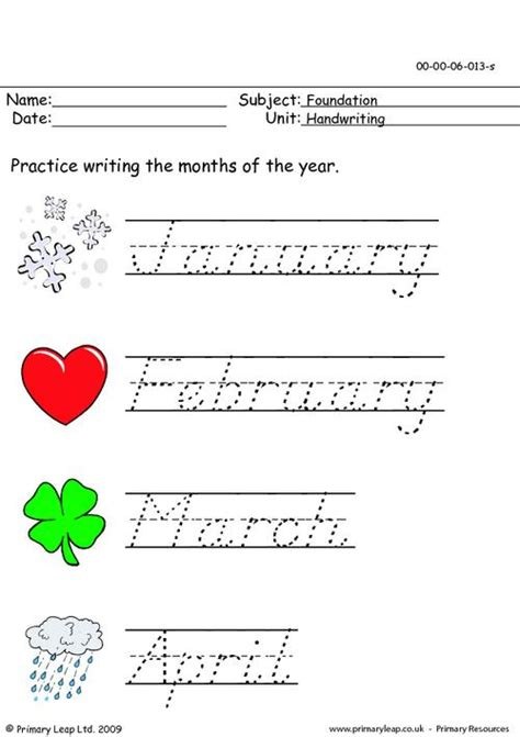 handwriting months of the year primaryleap co uk
