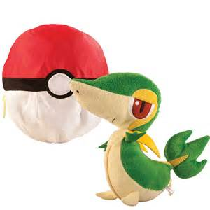 pokemon plush toys transforming snivy pokeball