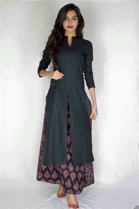 stand collar plain jacket black kurti with printed palazzo rubyscouture stay