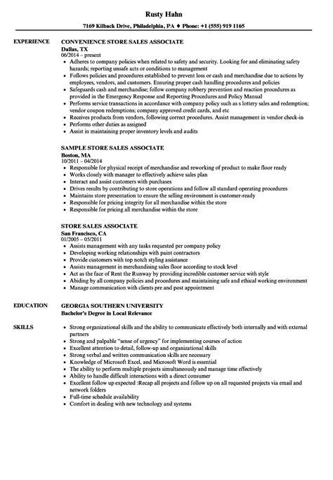 Exle Of Sales Associate Resume by Store Sales Associate Resume Sles Velvet