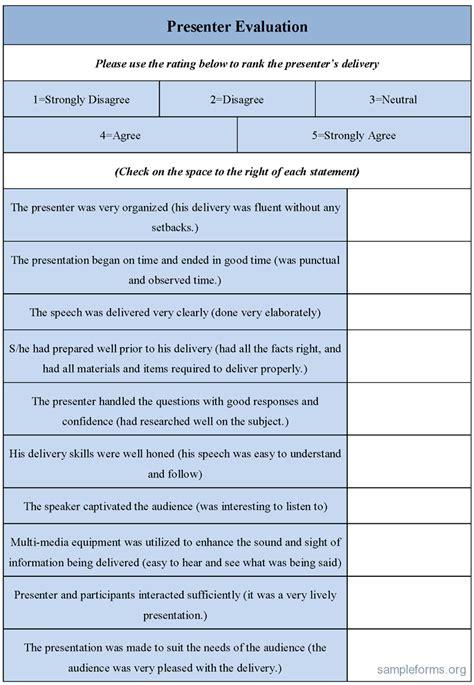 Presenter Evaluation Form Template presenter evaluation form sle forms