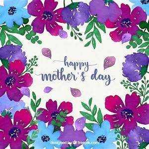 Happy mother's day watercolour background with flowers ...