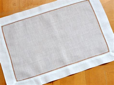 pc set white hemstitched linen placemats