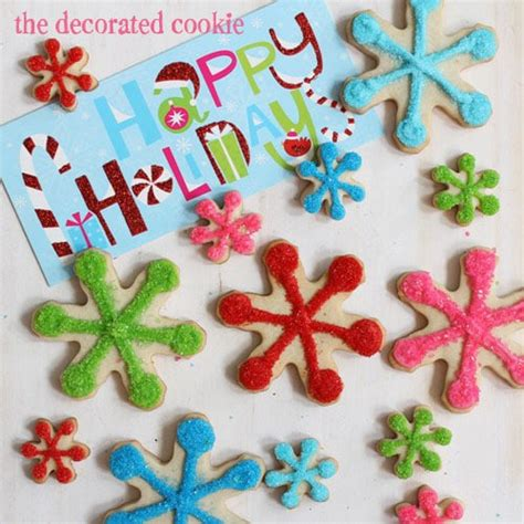 bright  sparkly snowflake cookiesthe decorated cookie