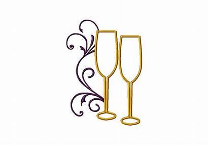Champagne Glasses Gold Embroidery Machine Stitch Satin