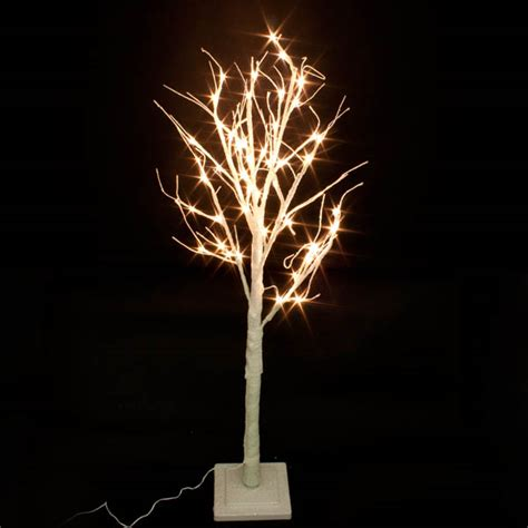 pre lit white glitter paper twig tree 125cm with 48 warm
