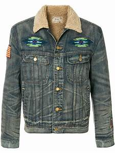 polo ralph embroidered denim jacket in blue for