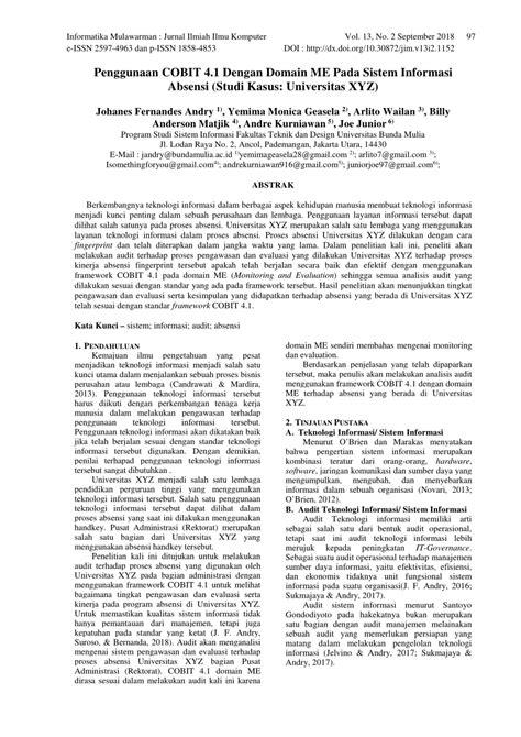 (PDF) Penggunaan COBIT 4.1 Dengan Domain ME Pada Sistem