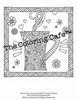 Coloring Cafe Pages Etsy Sheets Colouring sketch template