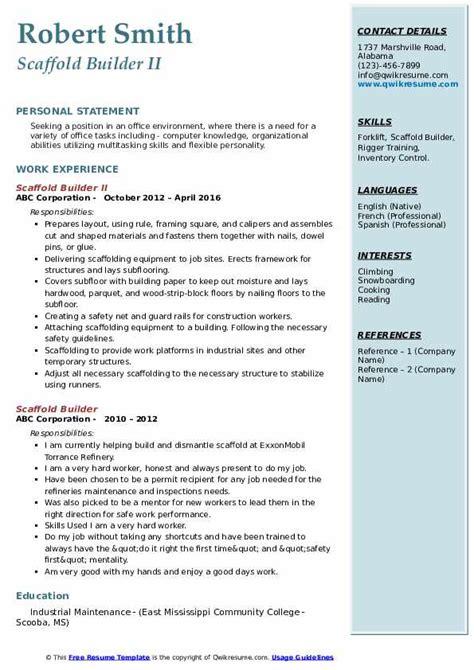 scaffold builder resume samples qwikresume