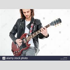 Man Electric Guitar Long Hair Stock Photos & Man Electric Guitar Long Hair Stock Images Alamy
