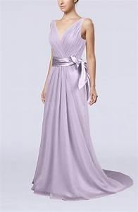 Light Purple Elegant A-line V-neck Sleeveless Chiffon ...