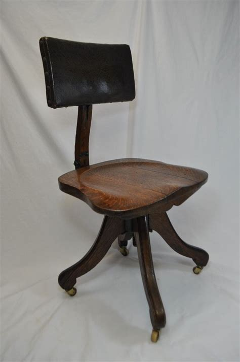antique wooden swivel desk chair antique vintage wood and leather rolling office chair