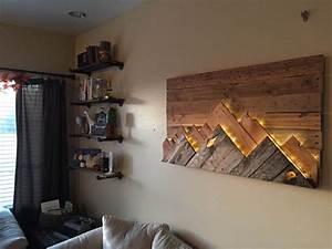 Wooden Mountain Range Wall Art Love this, Headboard