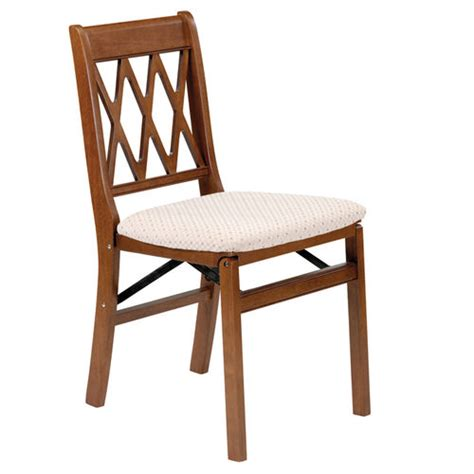 stakmore lattice wood folding chairs w upholstered seats