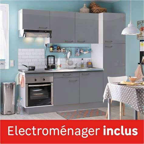 accessoires cuisine pas cher cuisine équipée gris brillant l 240 cm électroménager