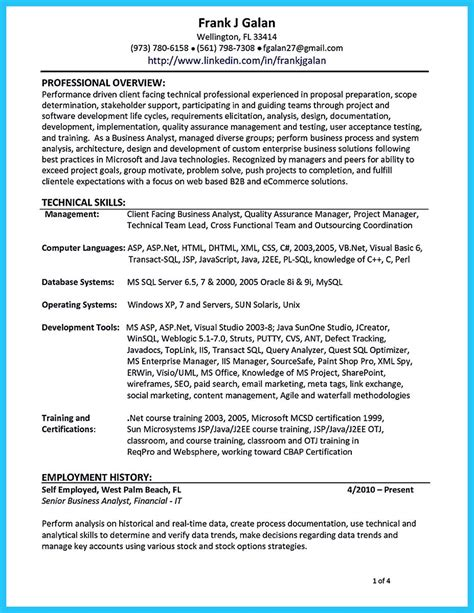 create  astonishing business analyst resume  gain  position