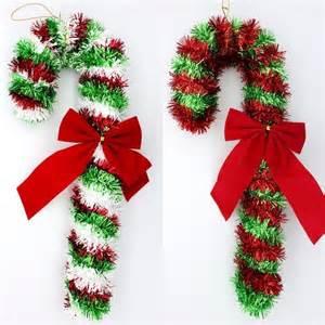 2x christmas tinsel candy cane haning decoration w ribbon xmas d 233 cor 35cm