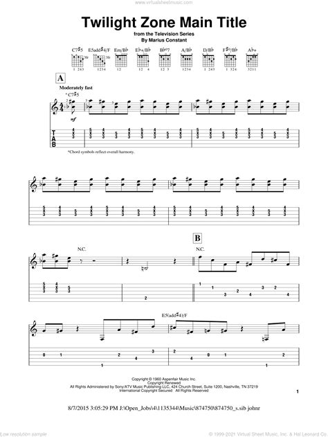 A great source for all kind of guitar related issues. Constant - Twilight Zone Main Title sheet music for guitar solo (easy tablature)