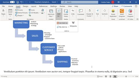 create  microsoft word flowchart