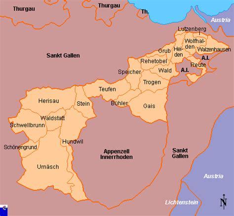 Clickable map of Appenzell Auserrhoden (Switzerland)