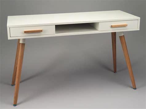 bureau nordique bureau secrétaire de simla blanc mat et bois de chêne clair
