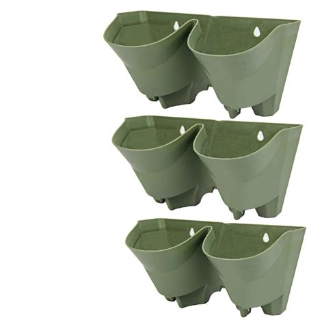 Watering Vertical Gardens by Worth Garden 2 Pockets Olive Green Plastic Self Watering