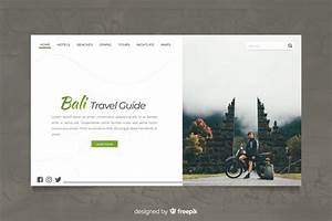 Bali Travel Guide Landing Page With Photo Vector