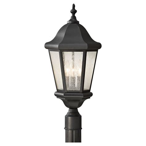 hton bay 3 black outdoor post light hb7017p 05