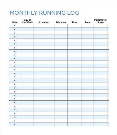 running log templates   printable word excel