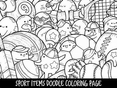 Coloring Kawaii Pages Printable Doodle Items Sport