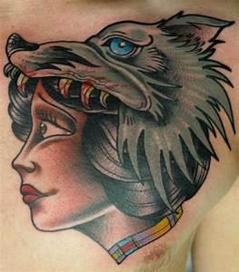New School Chest Wolf Tattoo by Nick Baldwin