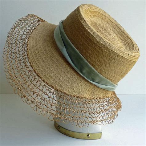 stunning straw hat  velvet ribbon big bow vintage