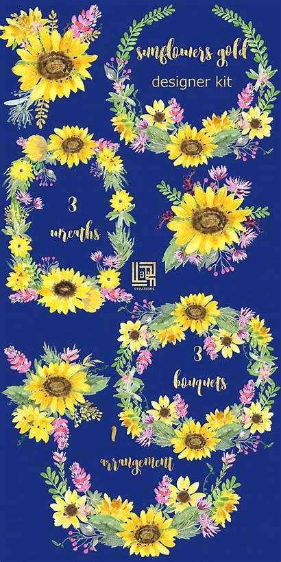 Watercolor Clipart Sunflowers Gold Sunflower Watercolour Header