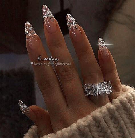 pinterest  valeriaa almond nails designs diamond