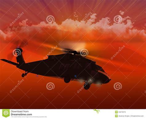 Uh-60 Blackhawk Flying Sunset Stock Illustration