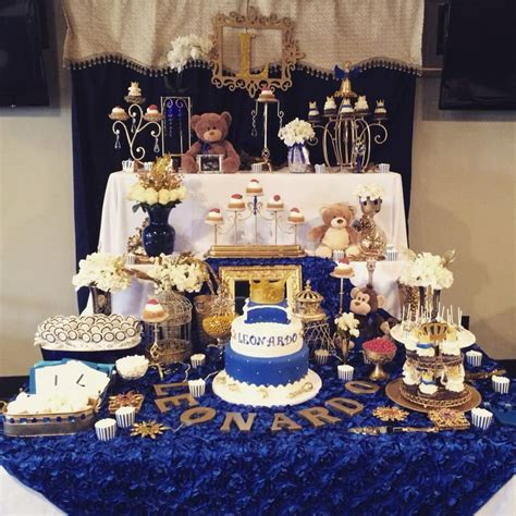 royal themed baby shower ideas royal theme baby shower prince cake with crown royal blue and gold candy buffet table