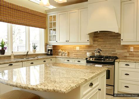 giallo ornamental granite subway travertine backsplash