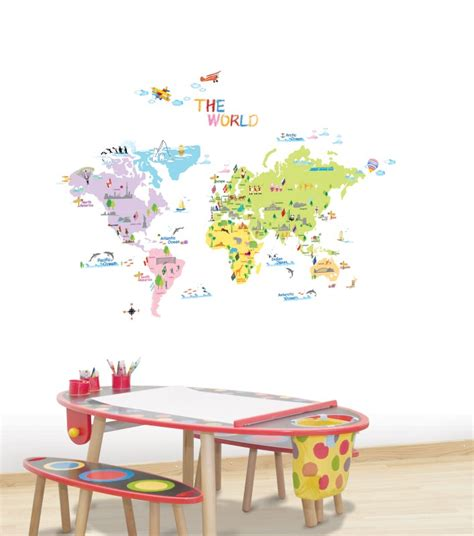 sticker mural enfant sticker carte du monde stickers enfants ambiance